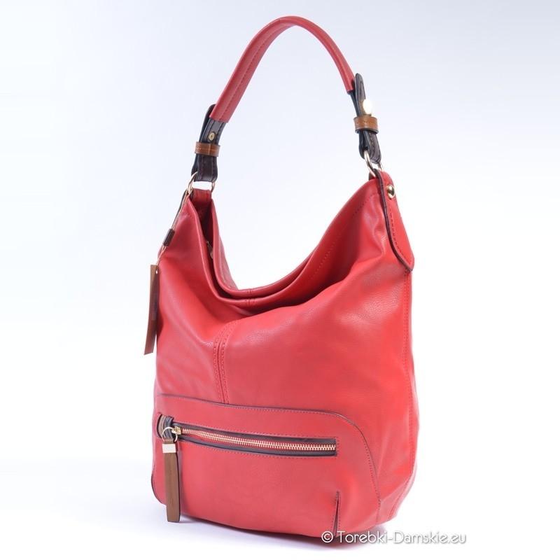 c3b7af37375c8 Czerwona torebka - worek, mieści A4, kolor czerwony - koralowy