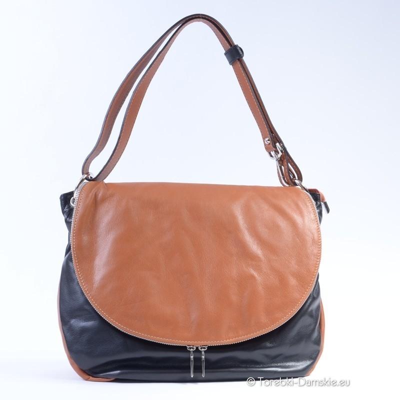 Czarno brązowa skórzana torebka z klapą duża listonoszka