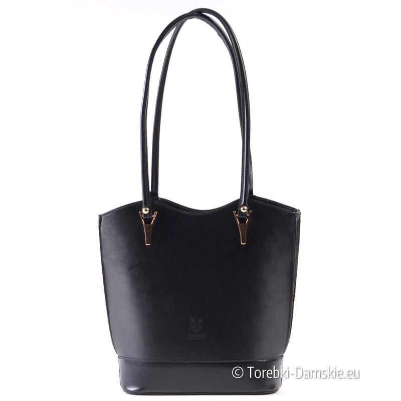 baf5a28faab6e Czarna elegancka torebka ze skóry na dwóch długich paskach