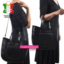 Czarna skórzana torba na ramię - lekka i pojemna