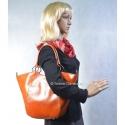 Jasnobrązowa torba dwa w jednym: łódka, na ramię, do ręki - ze skóry naturalnej