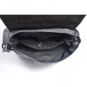 Popielata skórzana torebka z klapą