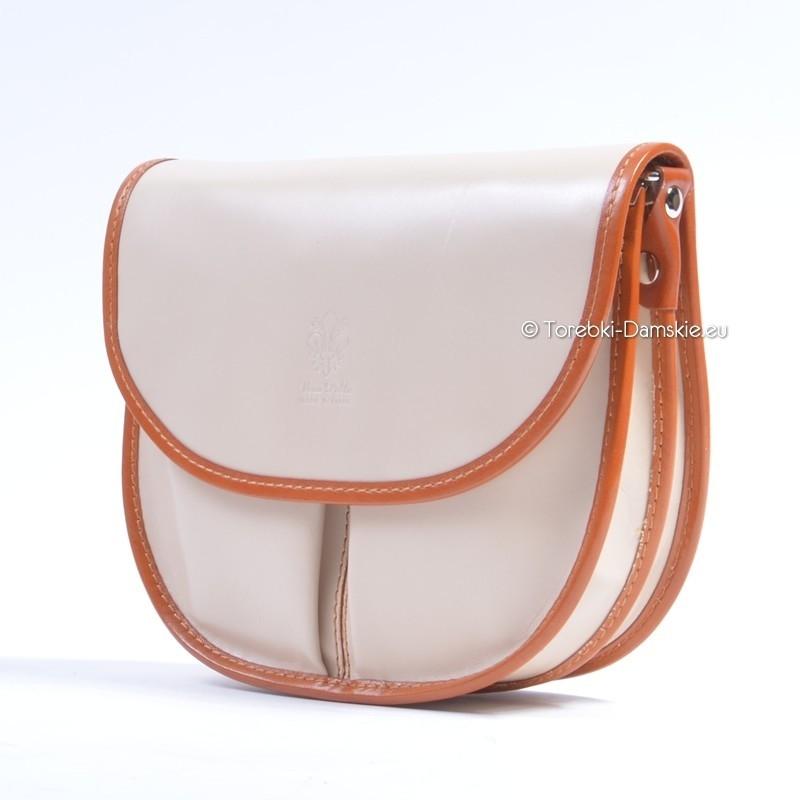Skórzana torebka w kolorze ecru z elementami jasnobrązowymi