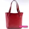 Czerwona skórzana włoska torebka w pięknym głębokim odcieniu