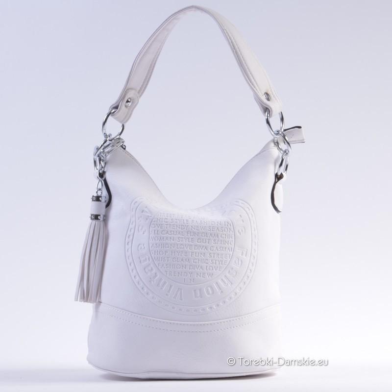 fc0a2c4aaa3ba Nowy model białej torebki damskiej z pieczątką