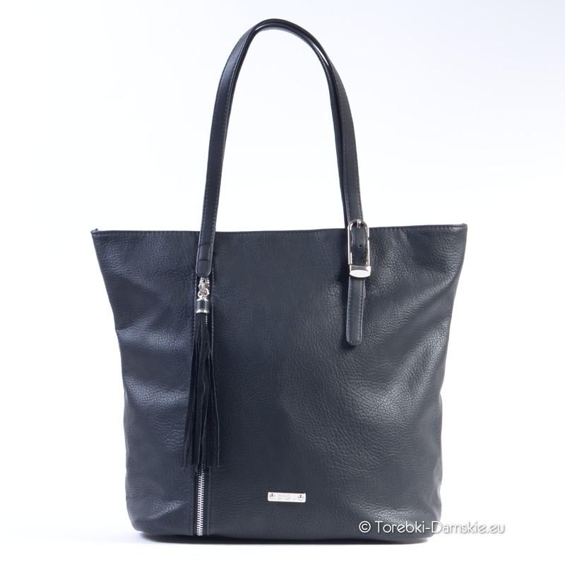 4197660a56967 Czarna torba damska shopperbag marki David Jones