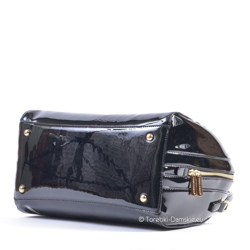bb642d3d29cc4 ... Duża lakierowana czarna torebka kuferek David Jones ...