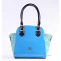 Niebieska lakierowana torebka włoska