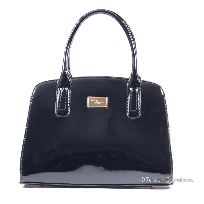 c7f36d76857e0 Piękna czarna torebka damska David Jones - lakierowany kuferek