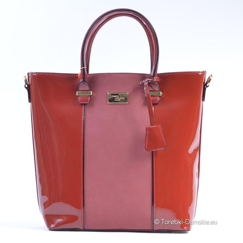 ce194c4c61a5b Czerwona duża torba shopper lakierowana David Jones