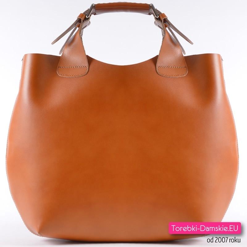 898b0dd3c081c Jasnobrązowa skórzana torebka włoska shopper