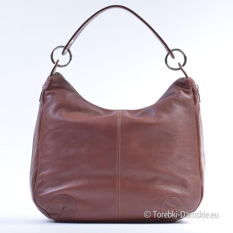 f7885e114a72e1 Brązowa torba damska z miękkiej skóry z suwakami na bokach