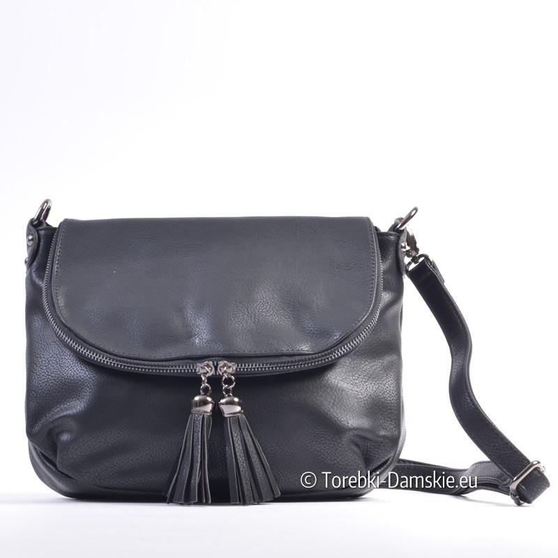 Czarna listonoszka torebka damska z klapką i efektownymi