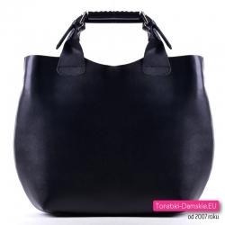 Czarna skórzana włoska duża torba shopper zarka