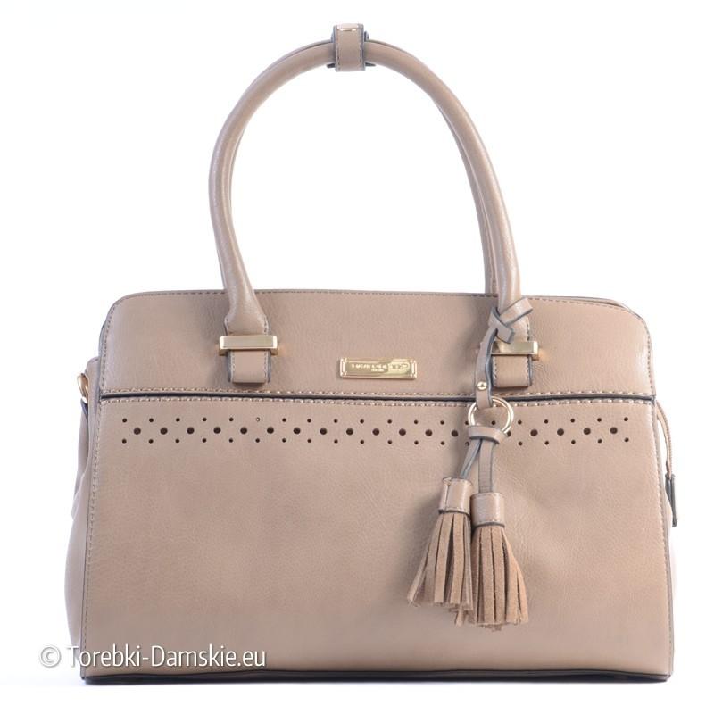 b8f8ed01cfd22 Beżowy kuferek - torebka David Jones z frędzelkami