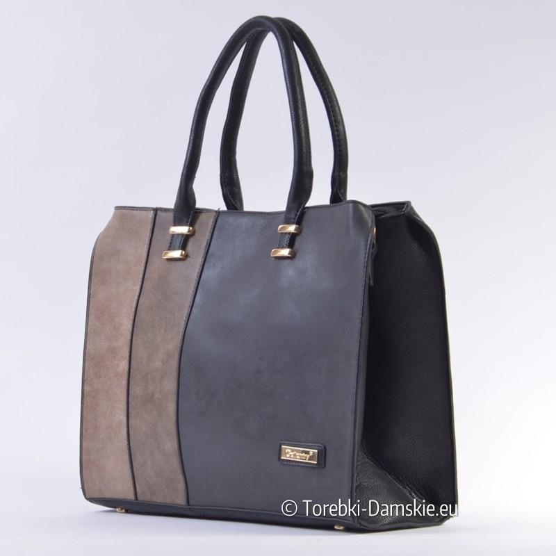 3e47636605465 Trójkolorowa duża torba damska Gallantry  czarny - brązowy - beżowy ...