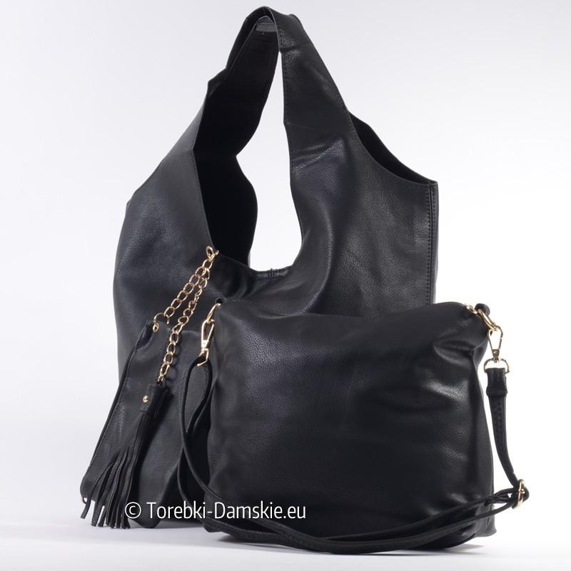 Zestaw 3 elementowy: czarna torba shopper, średnia listonoszka i saszetka damska