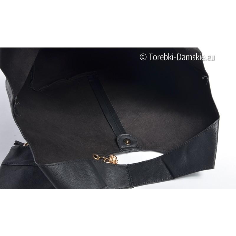 Zestaw 3 elementowy: czarna torba shopper, średnia