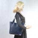 Granatowa skórzana torba damska