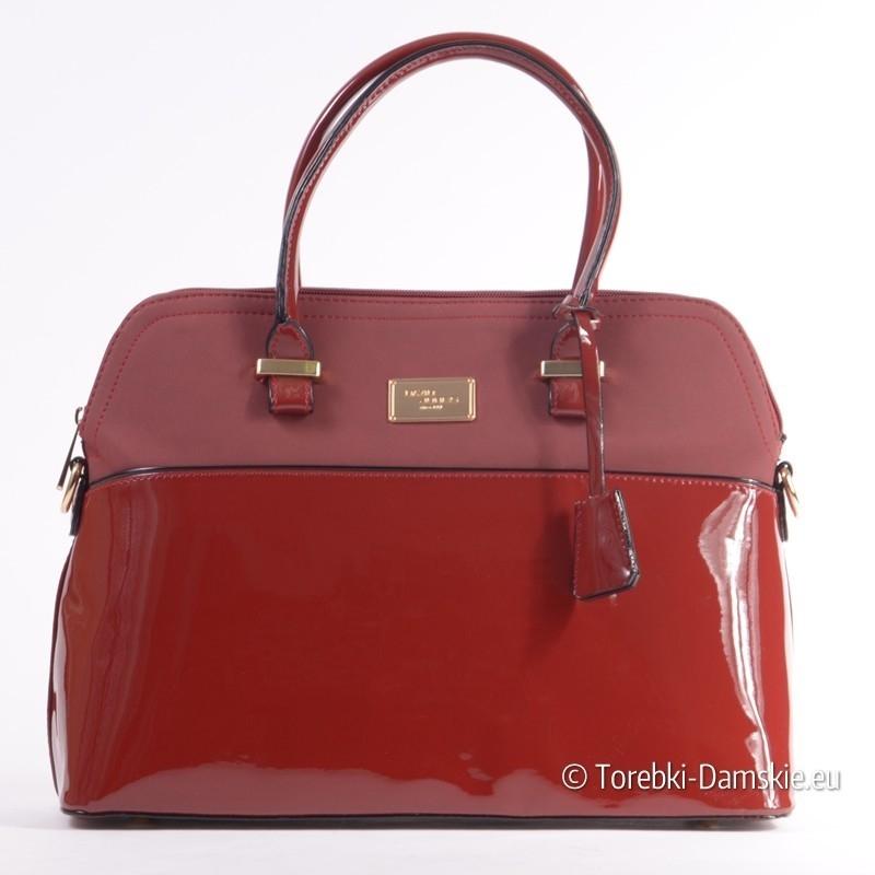 3ec81466c8116 Czerwona lakierowana torebka - kuferek David Jones