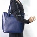Granatowa duża torba damska ze skóry