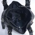 Czarna uniwersalna owalna torebka skórzana A4