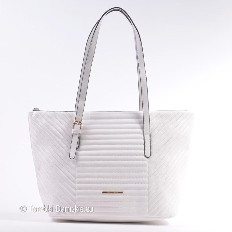 1f2643d4fcefc Duża biała torba damska David Jones pikowana