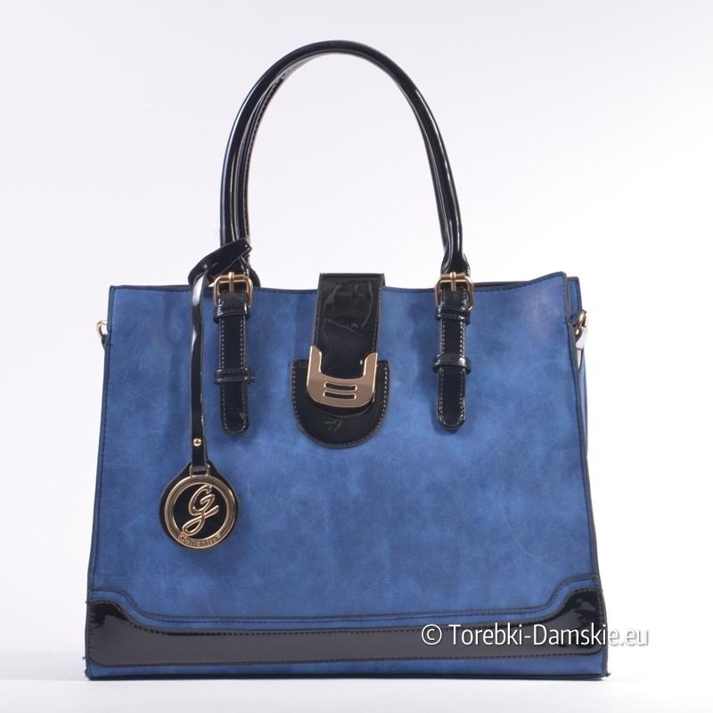 Niebieska torebka kuferek dużych rozmiarów z czarnymi elementami