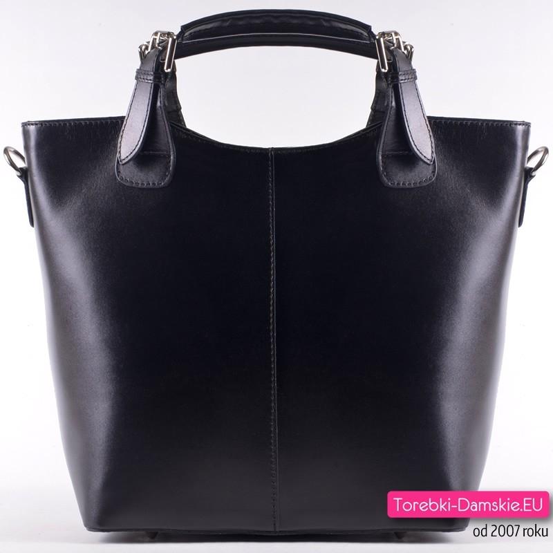 320cb8d8a8192 Skórzana duża czarna torebka włoska shopperbag