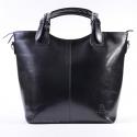 Skórzana, duża czarna włoska torebka - Zarka