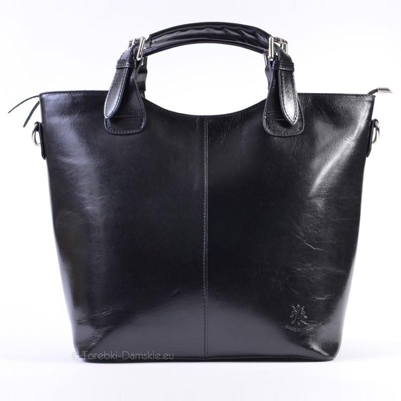 0e4470f3183ac Skórzana duża czarna torebka włoska shopperbag