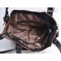 Jasnobrązowa torba ze skóry z czarnymi elementami