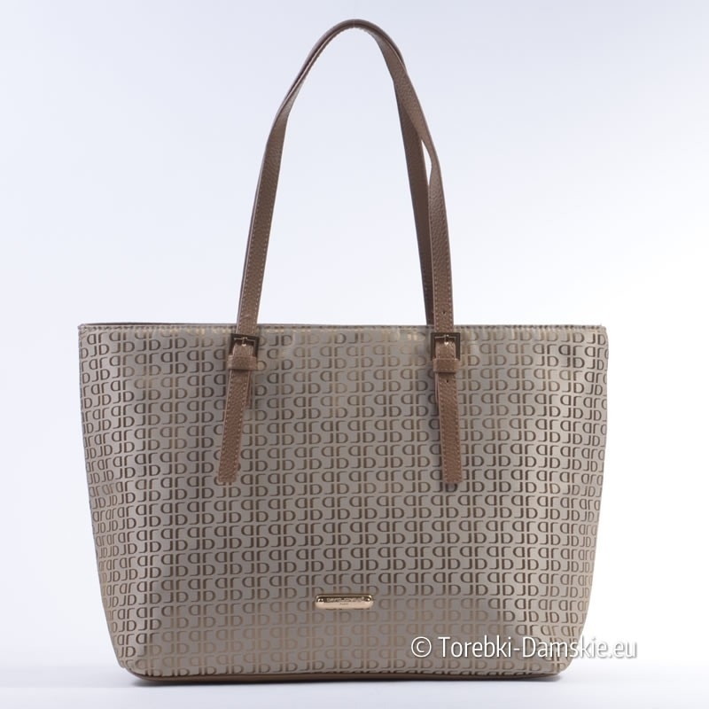 6726a2de92d68 Beżowa elegancka markowa torba David Jones z tkaniny ...