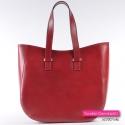Włoska oryginalna torebka z gładkiej licowej skóry naturalnej w kolorze czerwonym