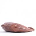 Brązowa owalna duża torba ze skóry - odcień kasztanowy