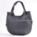 Czarna torba skórzana z jasnymi ściegami - duża, stylowa, funkcjonalna