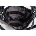 Zamykana suwakiem brązowa torebka damska z czarnymi elementami