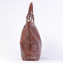 Duża ciemnobrązowa cieniowana damska torba skórzana