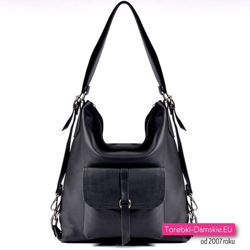 bdce24d73be30 Czarna torebka skórzana - pojemny worek i plecak w jednym