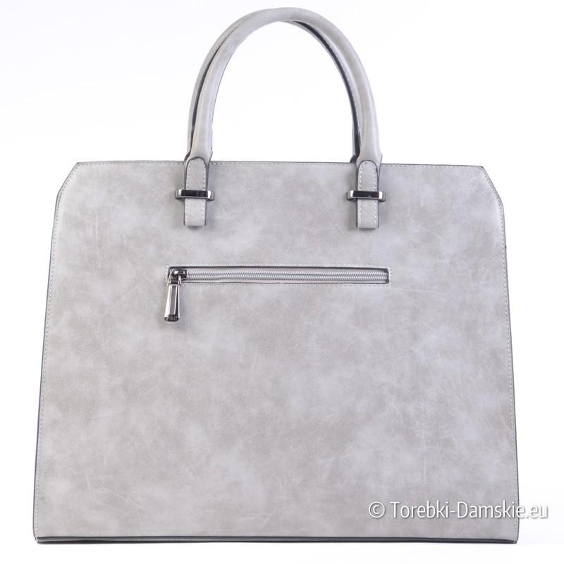Popielata nowoczesna torebka damska minimalistyczna teczka A4