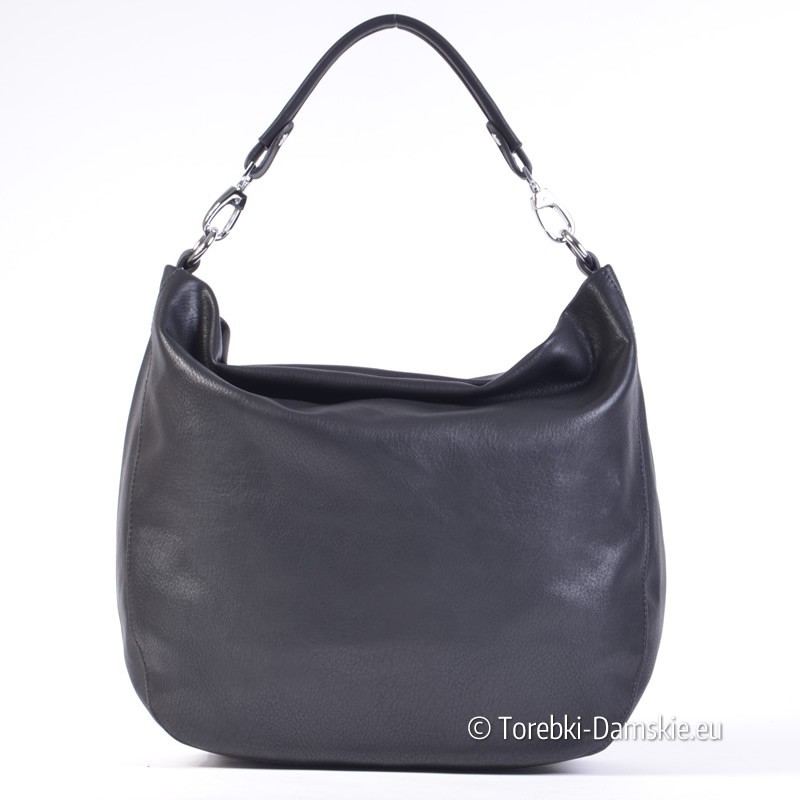 a74e268a6e27b Pojemna czarna torba damska typu worek i listonoszka