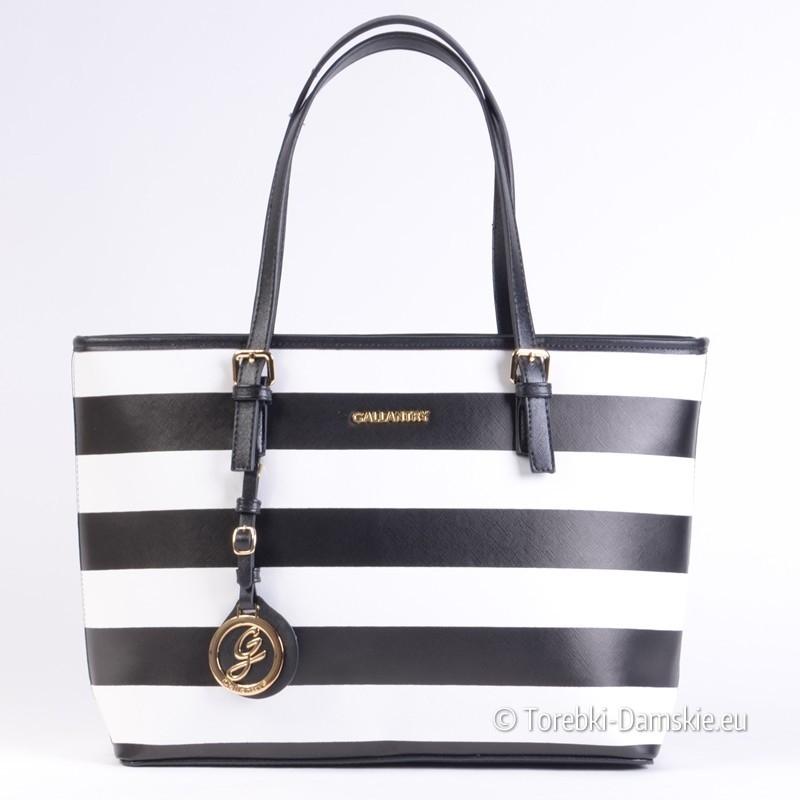 d442d2d2d5977 Duża torba w pasy czarno - białe