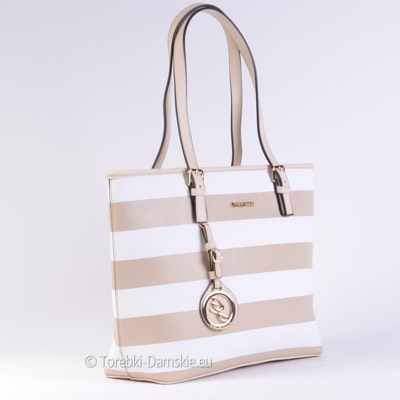 Modna torba w białe i beżowe pasy