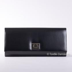 Duża czarna kopertówka z klapą