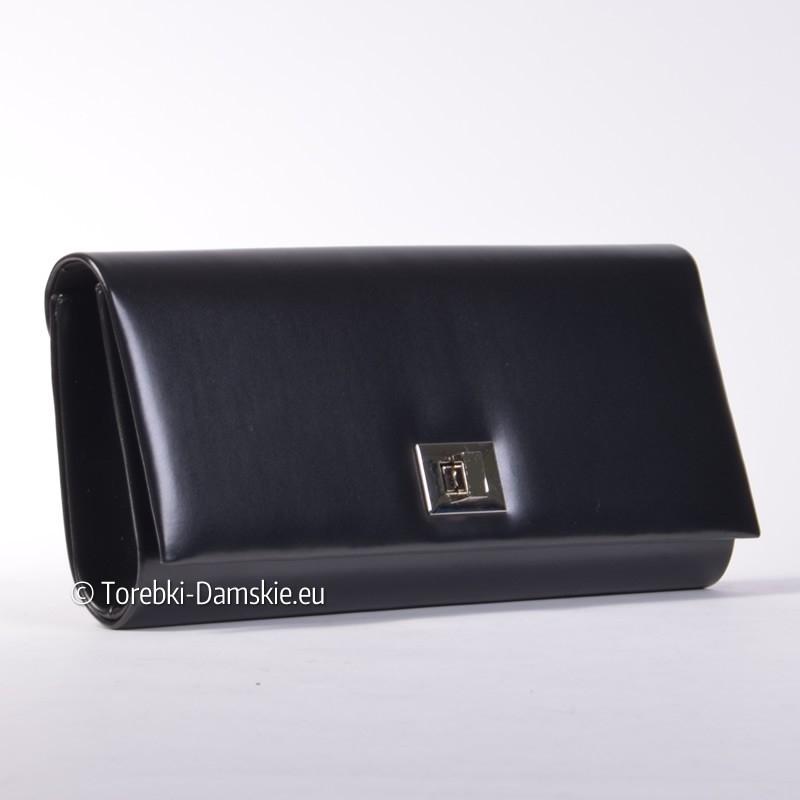 dc3103731df64 ... Czarna duża kopertówka - stylowa torebka wizytowa ...