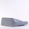 Jasnoszara duża torba ze skóry naturalnej, regulowanej długości uchwyty