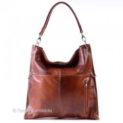 Duża brązowa skórzana kwadratowa torba damska