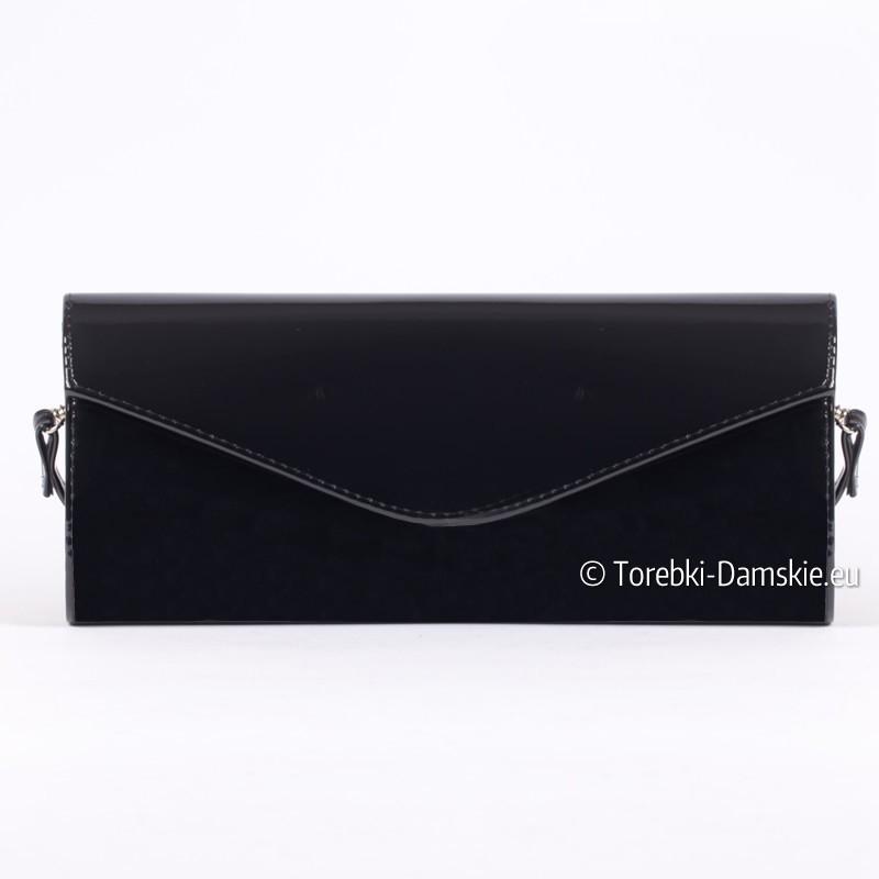 b60130d5b1a45 Czarna torebka wizytowa lakierowana koperta prostokątną