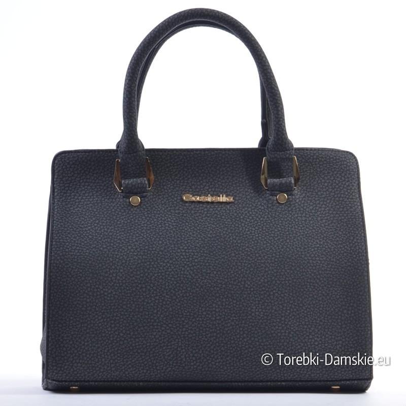 6b55e1edb094a Nowy Sztywna torebka w kolorze czarnym - kuferek o dwóch kształtach