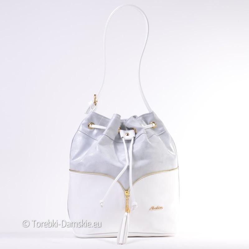 Biało - srebrna torebka na ramię - efektowny worek